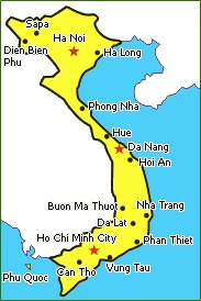 Vietnam Travel Map with major cities in Vietnam for tour packages