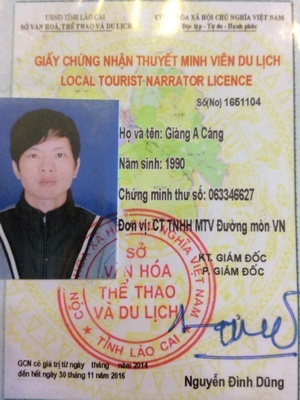 get your Sapa local tour guide Giang A Cang with our Vietnam tour company