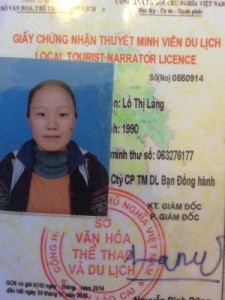 Sapa local tour guide Lo Thi Lang with Vietnam tour company package